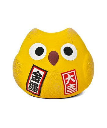 Yellow Feng Shui Owl Ornament