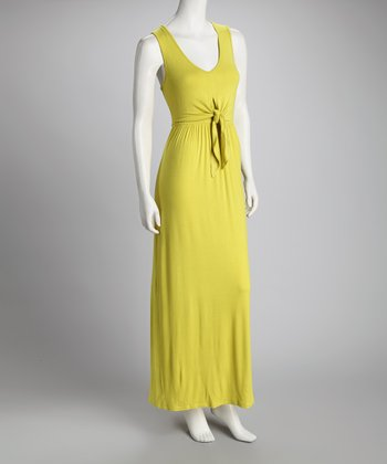 Lime Tie-Front Maxi Dress