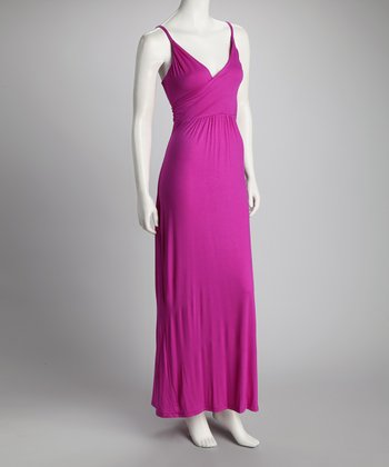 Berry Surplice Maxi Dress