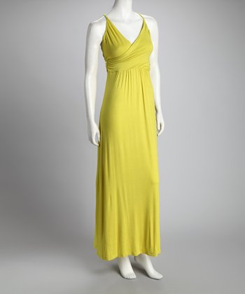Lime Surplice Maxi Dress