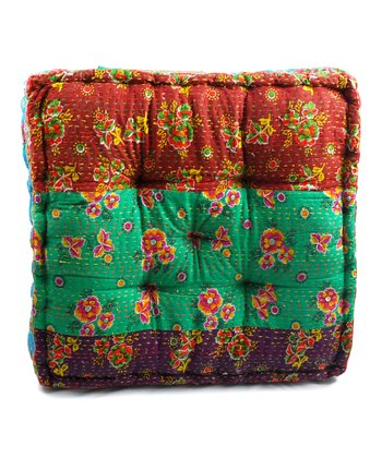 Green Patchwork Large Floor Cushion