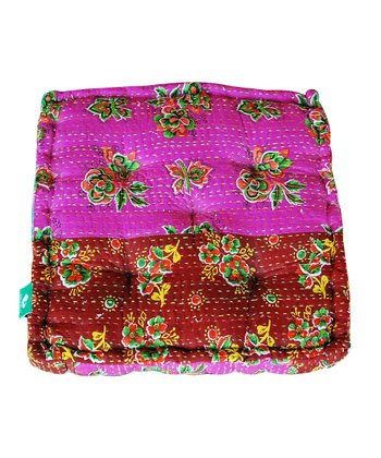 Pink & Red Patchwork Small Floor Cushion