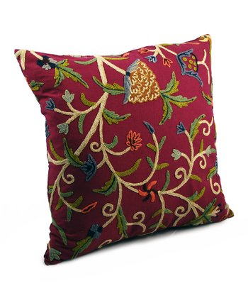 Magenta Crewel Large Throw Pillow