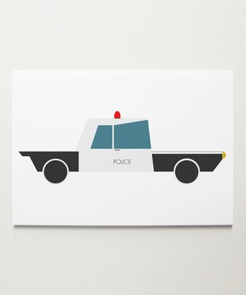 Black & White Police Car Print