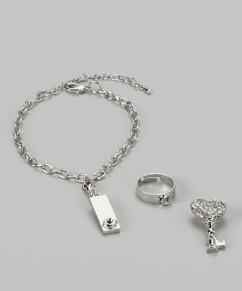 Silver Key to My Heart Charm Bracelet & Ring Set