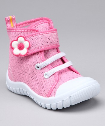 Pink & White Flash Flower Hi-Top Sneaker