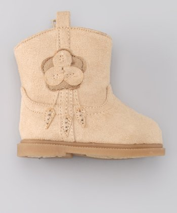 Tan Flower Furry Boot