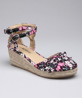 Black Flower Espadrille