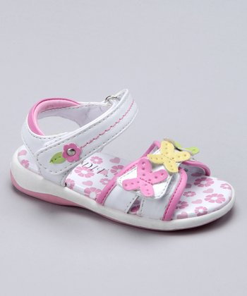 White & Pink Butterfly Jelly Sandal