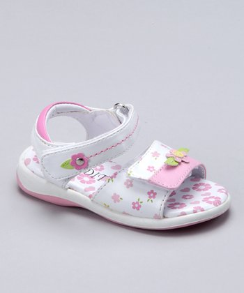 White & Pink Flower Jelly Sandal