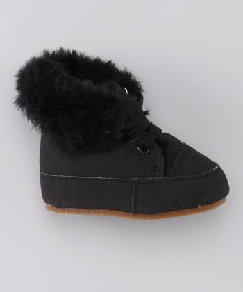 Black Fuzz Laced Potato Boot