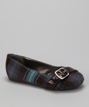 Blue Plaid Buckle Pure Flat -