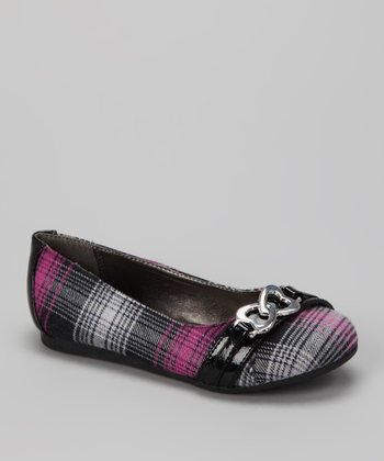 Pink Plaid Heart Pure Flat -