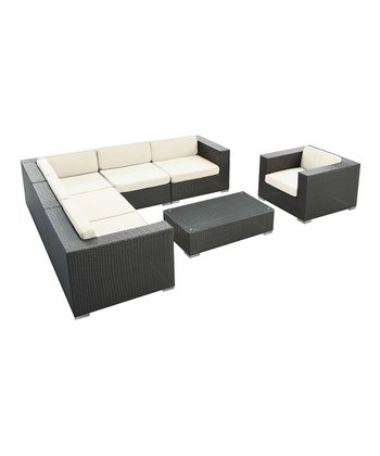 Espresso & White Corona Seven-Piece Sectional Sofa Set