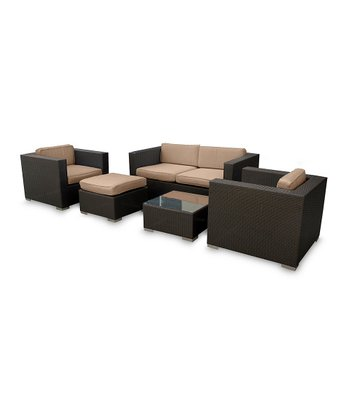 Espresso & Mocha Malibu Five-Piece Sofa Set