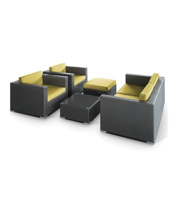 Espresso & Peridot Malibu Five-Piece Sofa Set