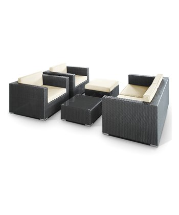 Espresso & White Malibu Five-Piece Sofa Set