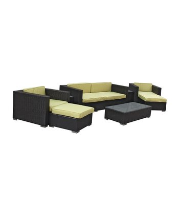 Espresso & Peridot Venice Eight-Piece Sofa Set