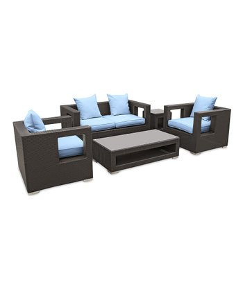 Espresso & Light Blue Lunar Five-Piece Sofa Set