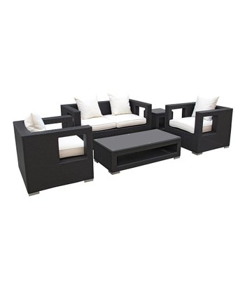 Espresso & White Lunar Five-Piece Love Seat Set