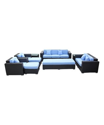Espresso & Light Blue Eclipse Nine-Piece Sofa Set