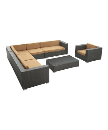 Espresso & Mocha Palm Springs Seven-Piece Sectional Sofa Set