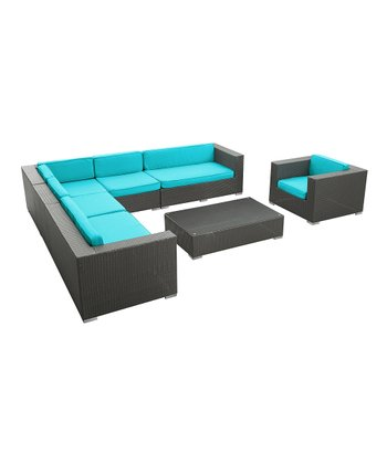Espresso & Turquoise Palm Springs Seven-Piece Sectional Sofa Set