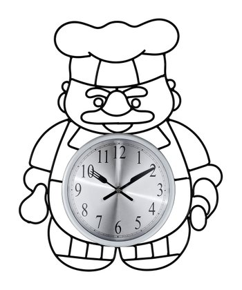 Black Outline Chef Wall Clock