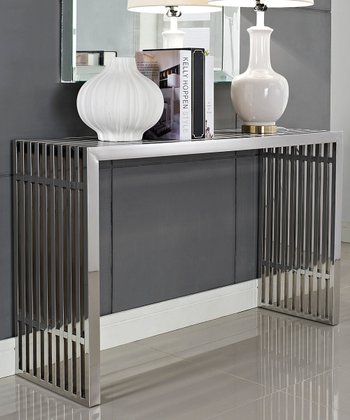 Silver Gridiron Console Table