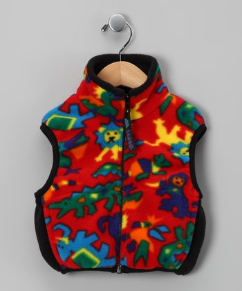 Red Zoo Animal Polar Fleece Vest - Toddler & Kids