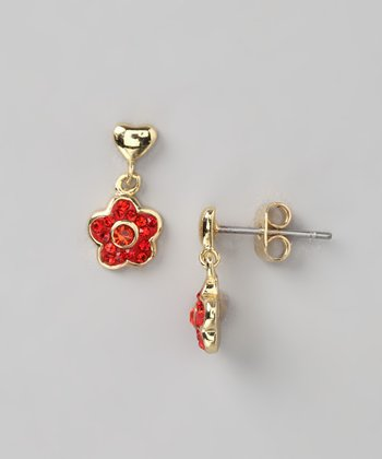 Gold & Red Flower Dangle Post Earrings