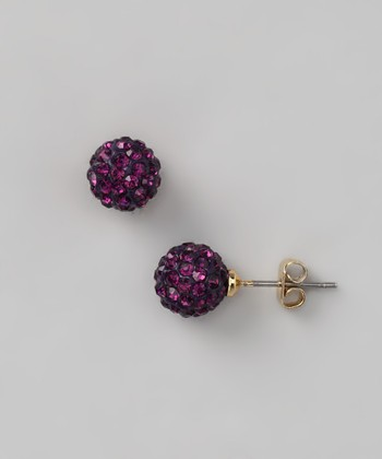Gold & Purple Crystal Ball Stud Earrings