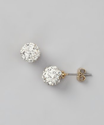 Gold Crystal Ball Stud Earrings
