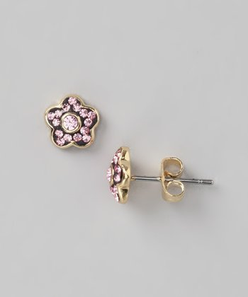 Gold & Pink Flower Stud Earrings