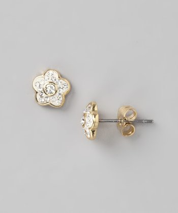 Gold & Crystal Flower Stud Earrings