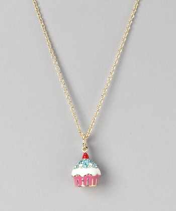 Pink & White Cherry Top Cupcake Necklace