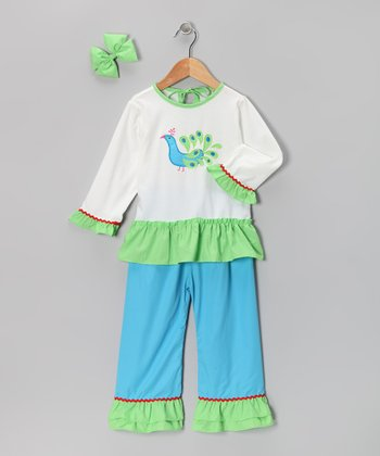 Aqua Peacock Ruffle Pants Set - Girls