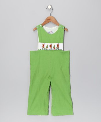 Green Reindeer Overalls - Infant