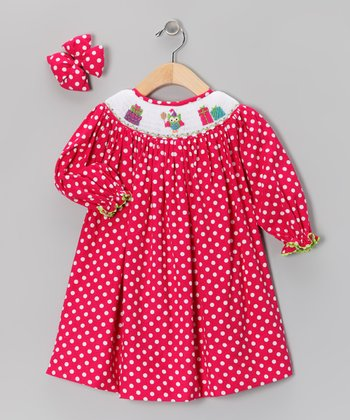 Pink Polka Dot Owl Bishop Dress & Clip - Toddler