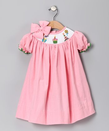 Pink Cupcake Bishop Dress & Bow - Girls