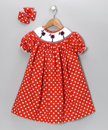 Orange Polka Dot Clemson Dress & Bow Clip - Girls