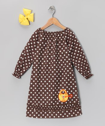Brown Key Dot Peasant Dress & Bow Clip - Infant, Toddler & Girls