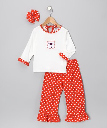 Orange Clemson Ruffle Pants Set - Girls