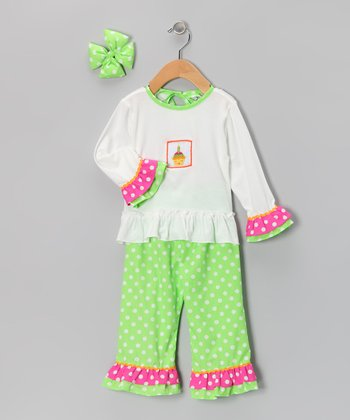Green Cupcake Ruffle Pants Set - Girls