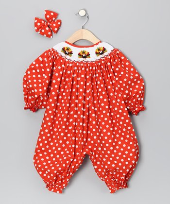 Orange Polka Dot Turkey Bubble Playsuit & Bow Clip - Infant