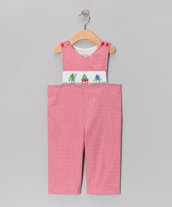 Red Robot Gingham Overalls - Infant & Toddler