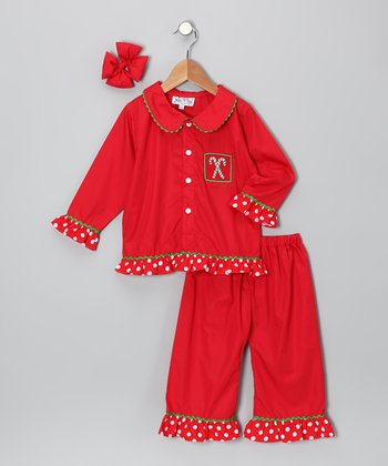 Red Candy Cane Pants Set - Toddler