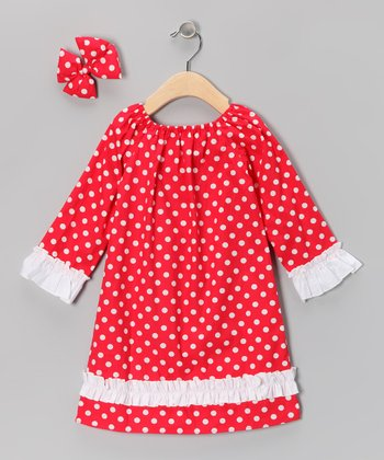 Red Polka Dot Peasant Dress & Bow Clip - Infant & Toddler