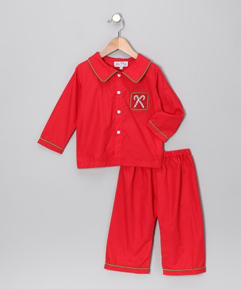 Red Candy Cane Button-Up & Pants - Infant