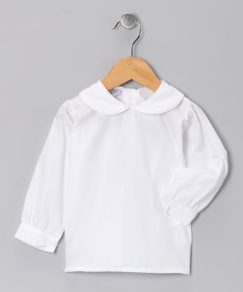 White Long-Sleeve Top - Girls